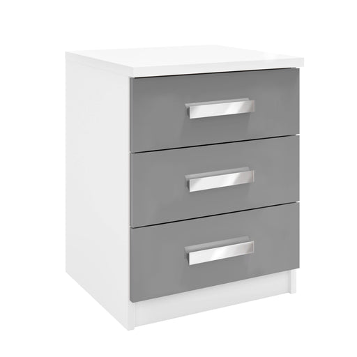 Brooke 3 Drawer High Gloss Grey and White Bedside - FurniComp