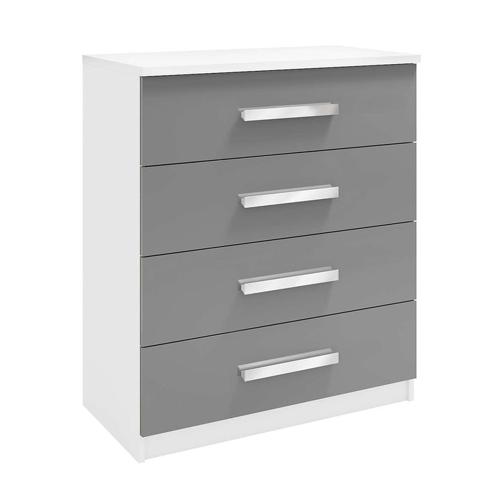 Brooke 4 Drawer High Gloss Grey and White Chest of Drawer - FurniComp