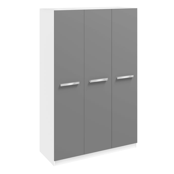 Brooke High Gloss Grey and White 3 Door Wardrobe - FurniComp