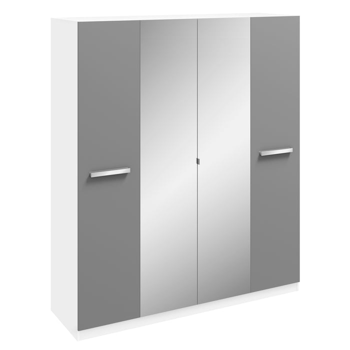 Brooke High Gloss Grey and White 4 Door Mirrored Wardrobe - FurniComp