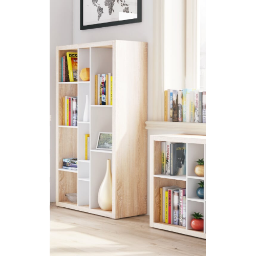 Bruno Matt White and Oak Tall Wide Open Back Bookcase - FurniComp