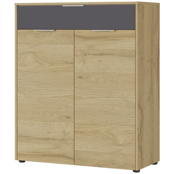 Brussels 2 Door 1 Drawer Oak and Graphite Shoe Cabinet - FurniComp