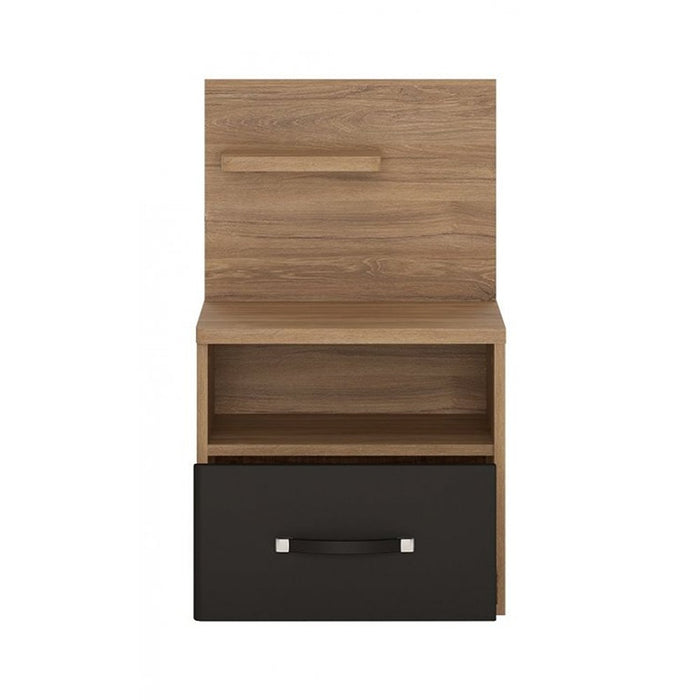 Buckingham Stirling Oak 1 Drawer Bedside with Open Shelf (LH) - FurniComp