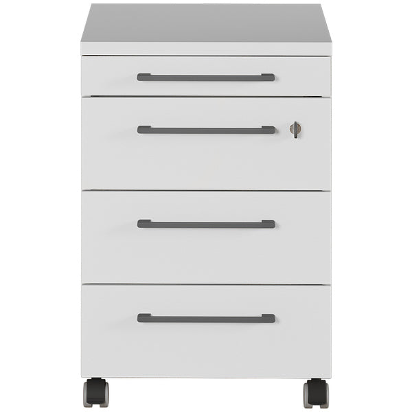 Bureaux 4 Drawer Light Grey Mobile Drawer Pedestal - FurniComp