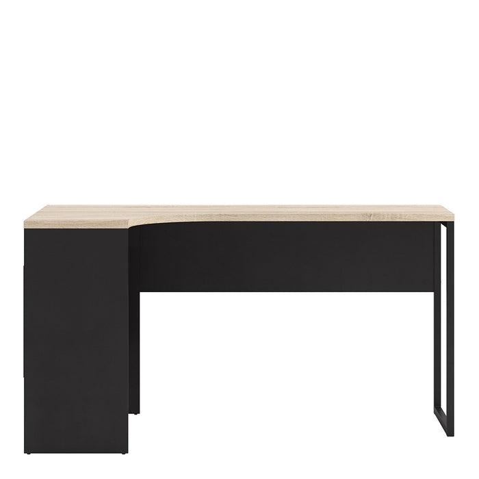 Burford Black Matt and Oak Corner Home Office Desk - FurniComp