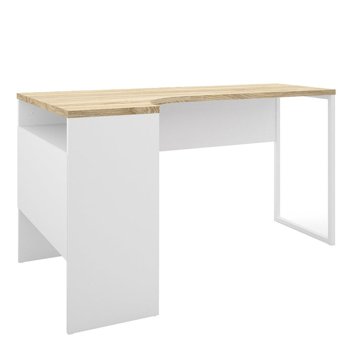Burford White and Oak Corner Home Office Desk - FurniComp