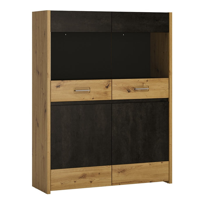 Cadiz Artisan Oak And Dark Accents Low & Wide Display Cabinet - FurniComp