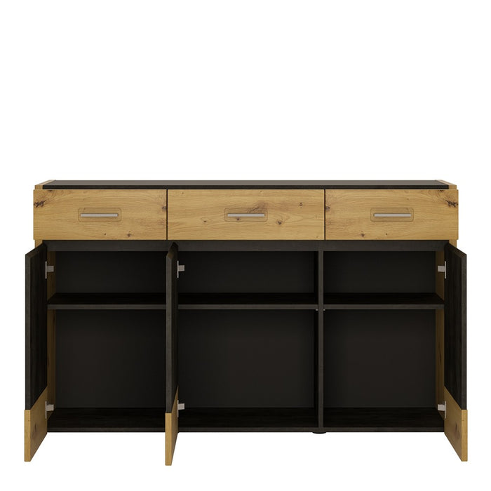 Cadiz 3 Door 3 Drawer Artisan Oak and Dark Accents Sideboard - FurniComp