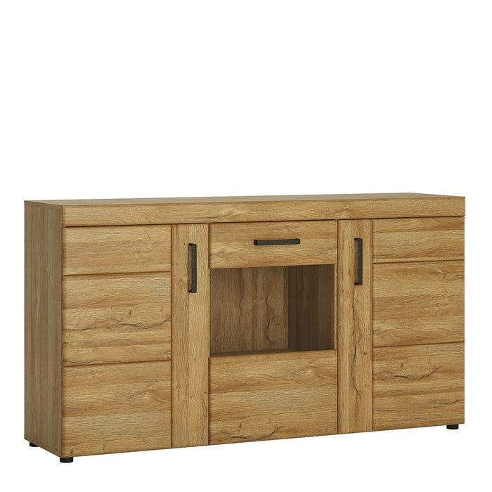 Carolina 3 Door Glass Grandson Oak Effect Sideboard - FurniComp