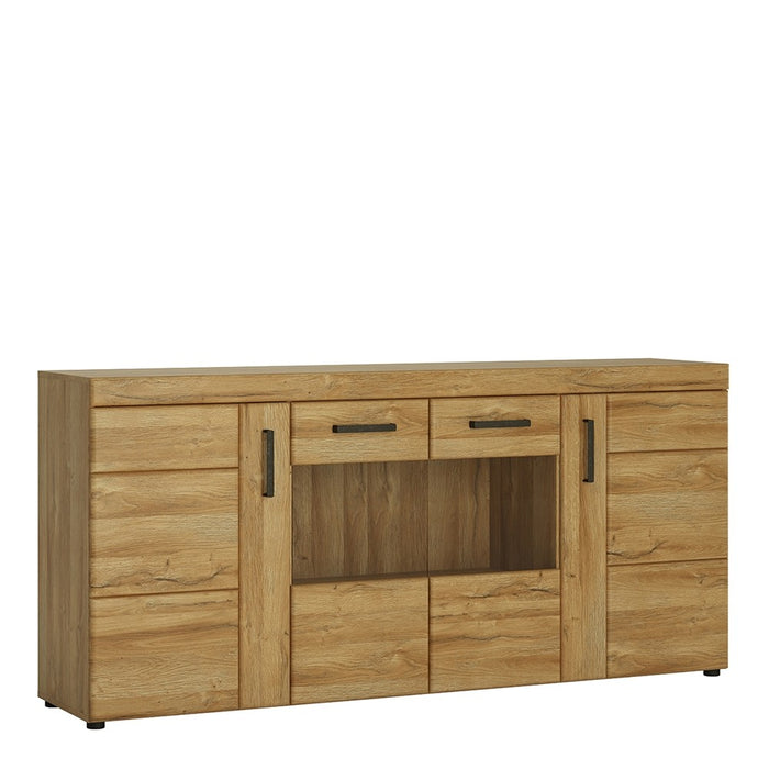 Carolina 4 Door Glass Grandson Oak Effect Wide Sideboard