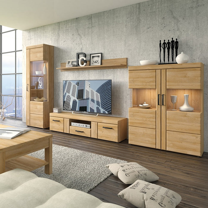 Carolina Grandson Oak 2 Door 1 Drawer Wide TV Unit - FurniComp