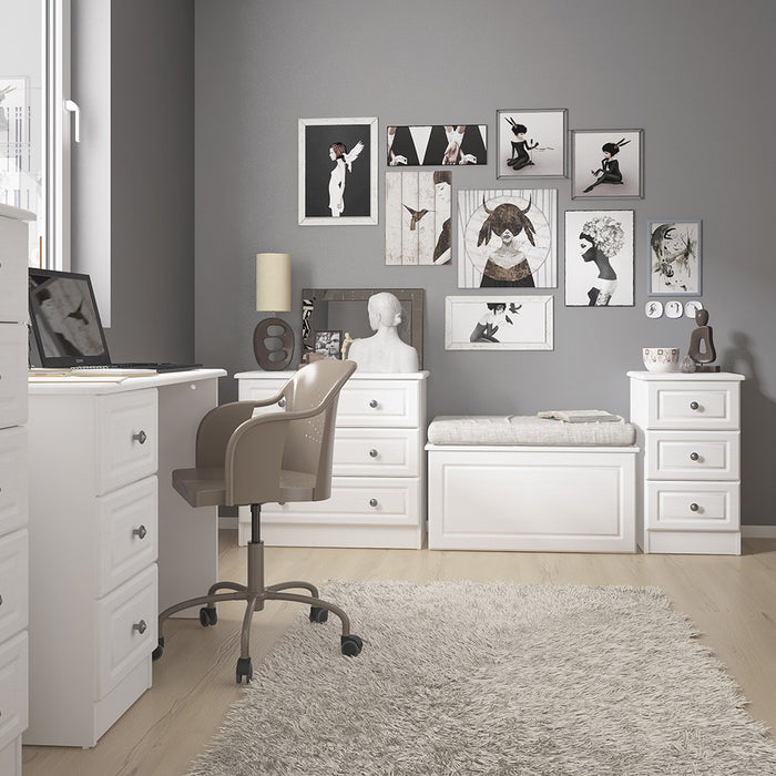 Cheshire White 5 Drawer Narrow Chest of Drawer - FurniComp