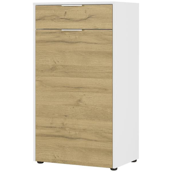 Chicago 1 Door 1 Drawer White and Oak Shoe Cabinet - FurniComp