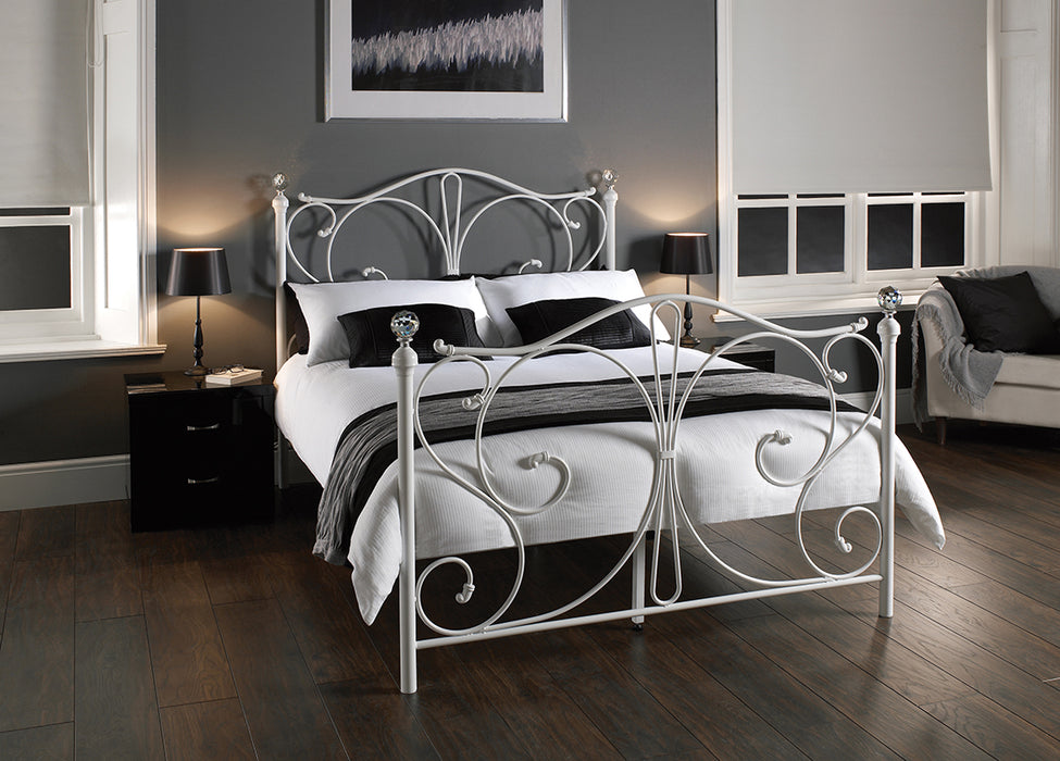 Claire White Metal Frame Bed - FurniComp