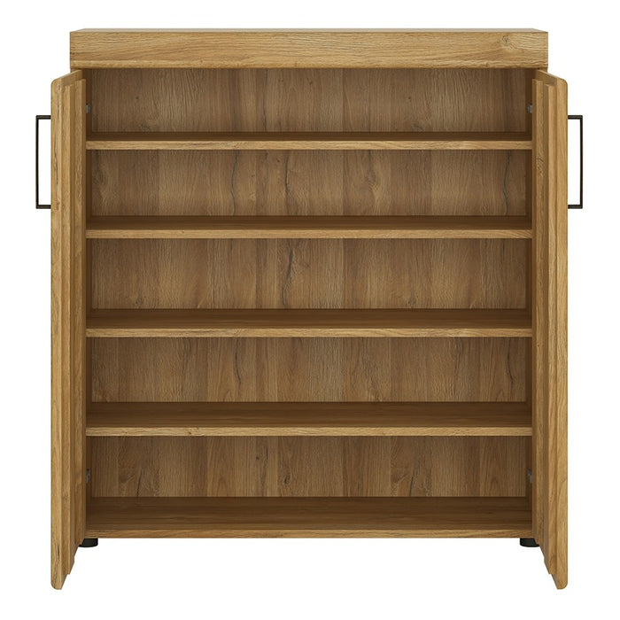 Clinton 2 Door Oak Shoe Storage Cabinet - FurniComp