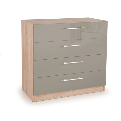 Collection Boston High Grey Gloss and Oak 4 Drawer Chest IP010