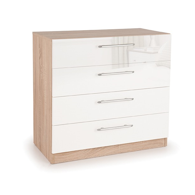 Collection Boston High White Gloss and Oak 4 Drawer Chest IP011