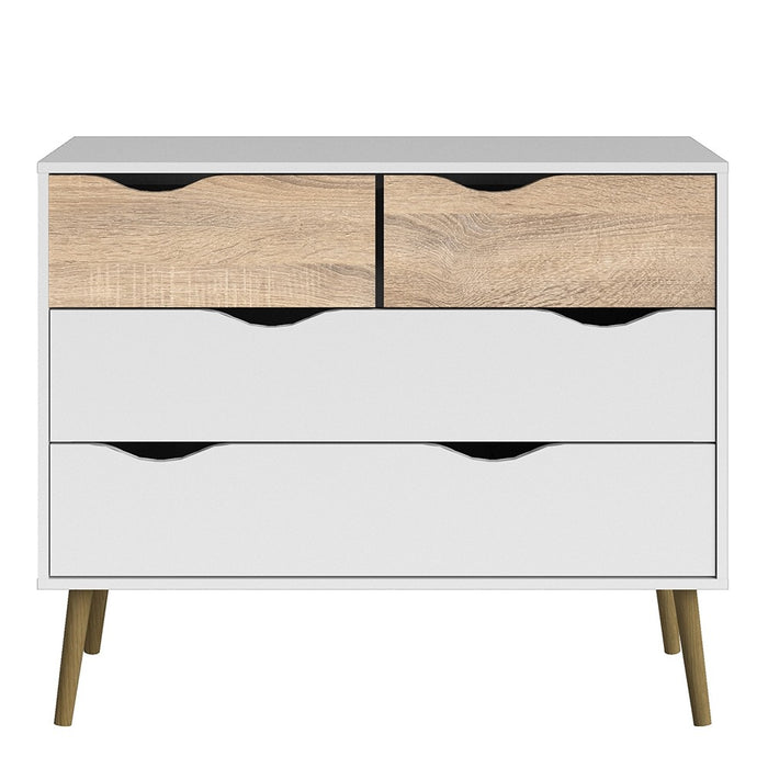 Copenhagen 4 Drawers (2+2) White and Oak Chest of Drawer - FurniComp