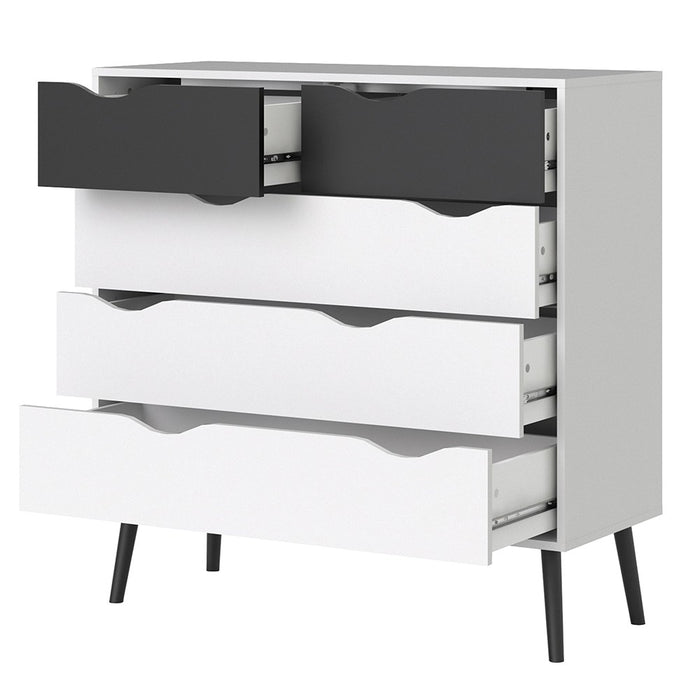 Copenhagen 5 Drawers (2+3) White and Black Matt Chest of Drawer - FurniComp