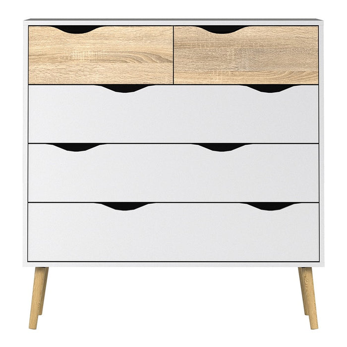 Copenhagen 5 Drawers (2+3) White and Oak Chest of Drawer - FurniComp