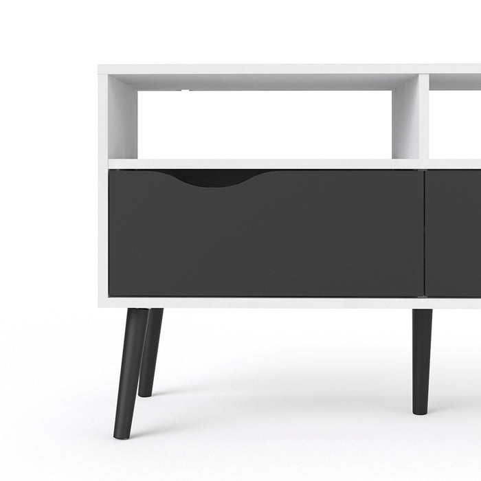 Copenhagen White and Matt Black 2 Drawer TV Unit - FurniComp