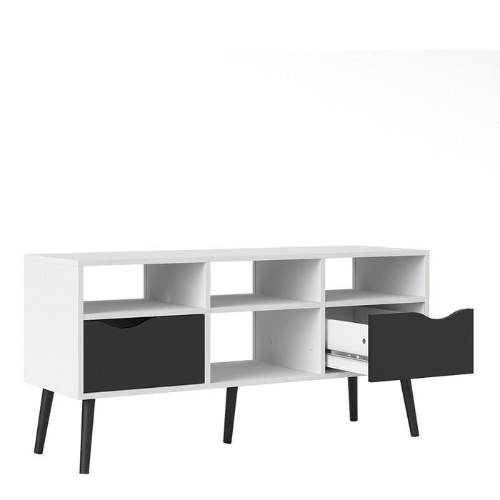 Copenhagen White and Matt Black Wide TV Unit - FurniComp