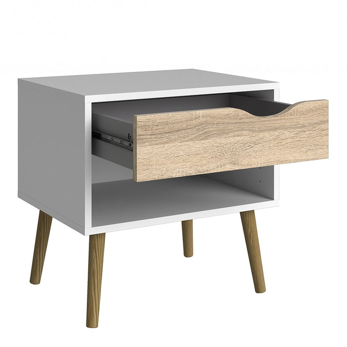 Copenhagen White and Oak 1 Drawer Bedside - FurniComp