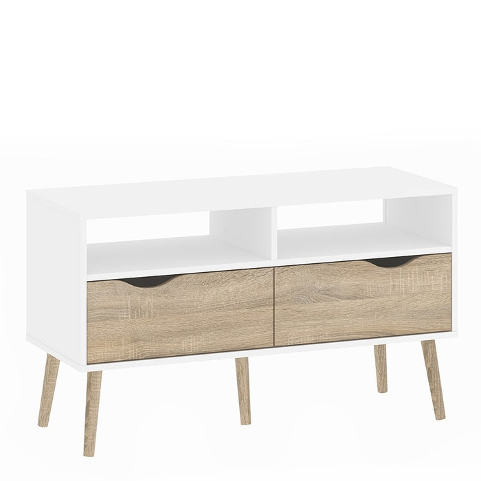 Copenhagen White and Oak 2 Drawer TV Unit - FurniComp