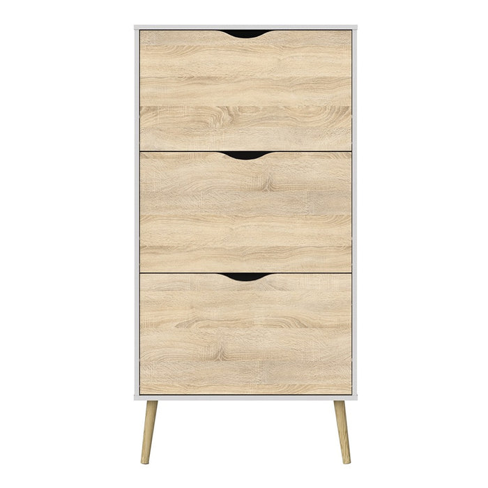 Cordova 3 Drawer White and Oak Shoe Cabinet - FurniComp