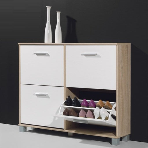 Danielle Modern Shoe Storage Cabinet In Canadian Oak And White SC1002