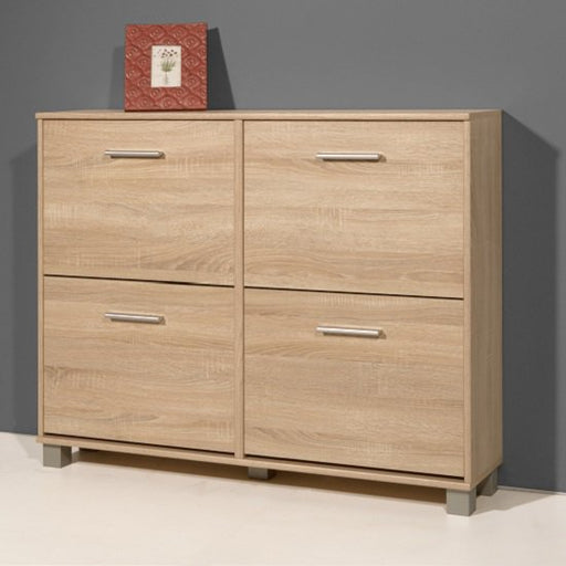 Danielle Modern Shoe Storage Cabinet In Sonoma Oak With 4 Doors SC1013 - FurniComp