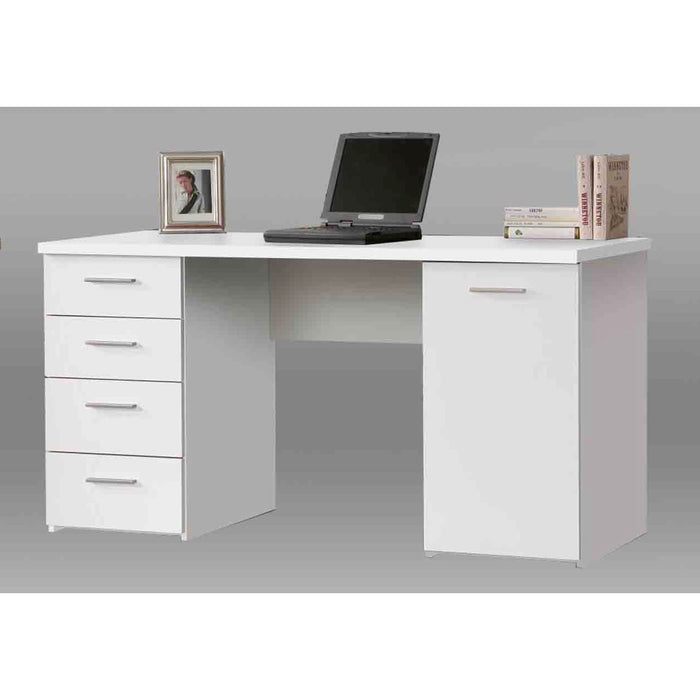 Delta White Computer Office Writing Desk with Drawers - FurniComp