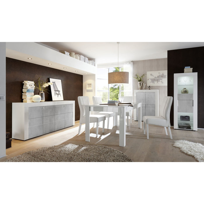 Milano 3 Door 2 Drawer White Gloss and Grey Sideboard - FurniComp
