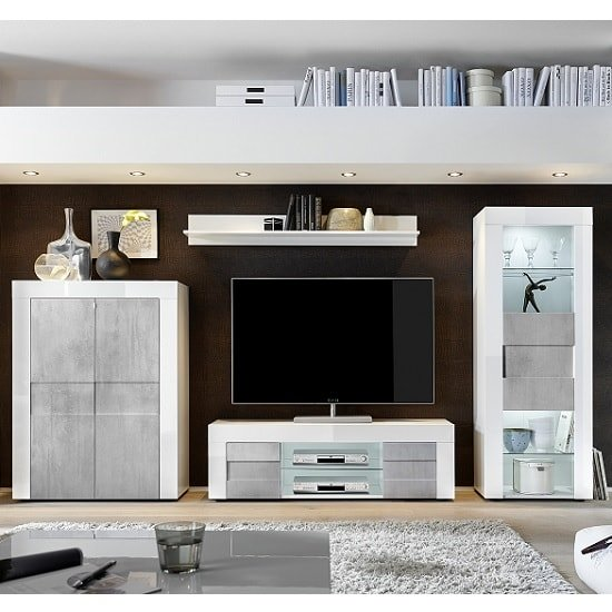 Milano Large 2 Door White Gloss and Grey TV Unit - FurniComp