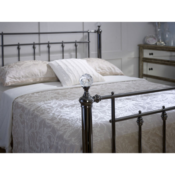Erin Black Chrome with Crystal Finials Metal Bed Frame - FurniComp