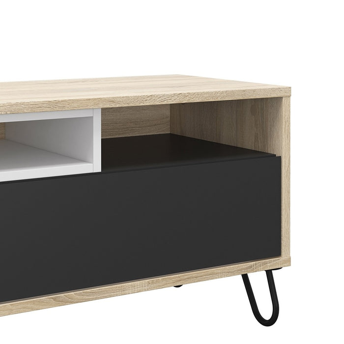 Esme Oak White and Grey 2 Drawer TV Unit - FurniComp