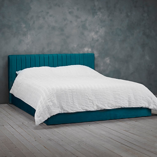 Essen Teal Velvet Ottoman Lift Up Storage Bed - FurniComp