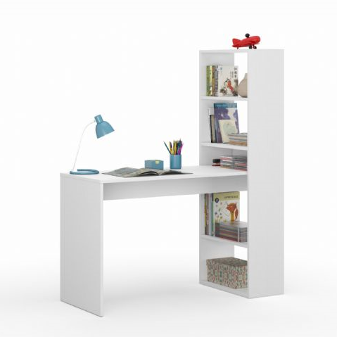 Faro White Computer Desk Workstation with Bookcase - FurniComp