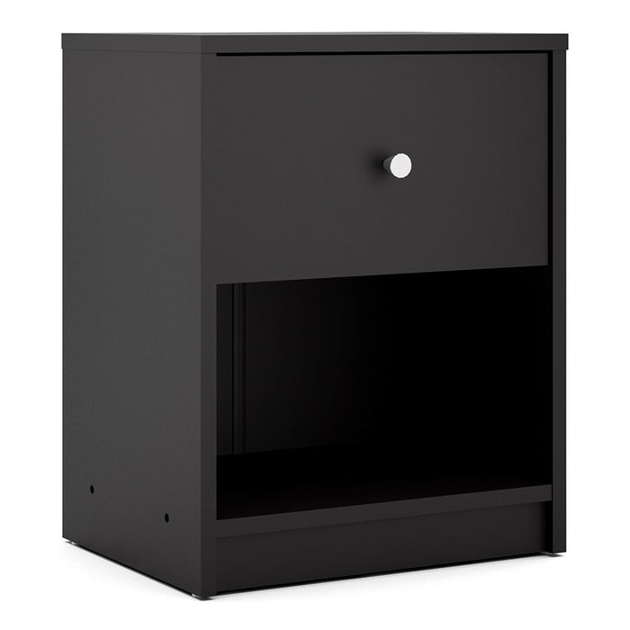 Felix 1 Drawer Black Bedside - FurniComp