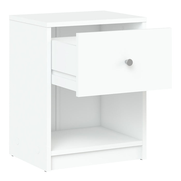 Felix 1 Drawer White Bedside - FurniComp