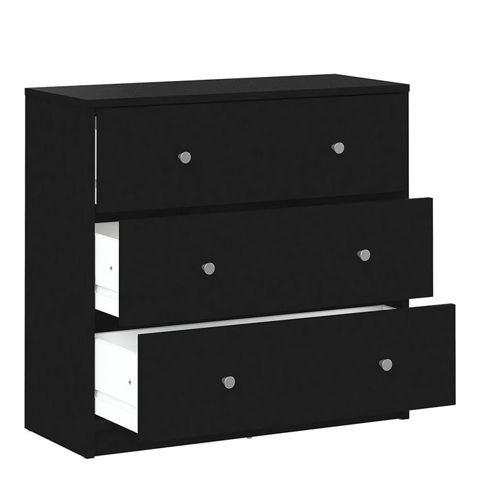 Felix 3 Drawers Black Chest of Drawer - FurniComp
