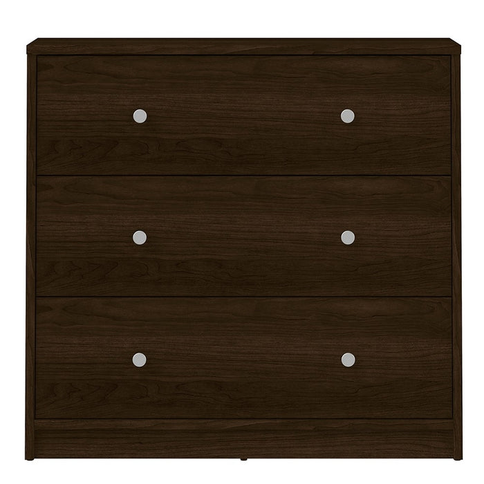 Felix 3 Drawers Dark Walnut Chest of Drawer - FurniComp