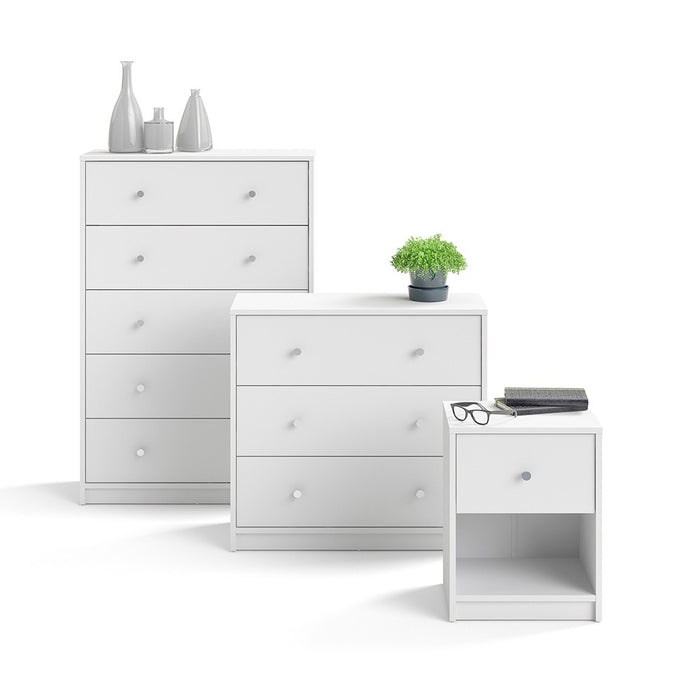 Felix 3 Drawers White Chest of Drawer - FurniComp