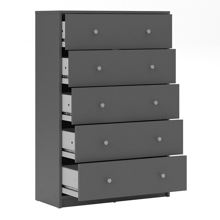 Felix 5 Drawers Grey Chest of Drawer - FurniComp