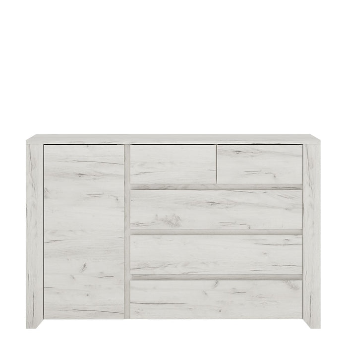 Florence White Oak 1 Door 2+3 Drawer Chest of Drawer - FurniComp
