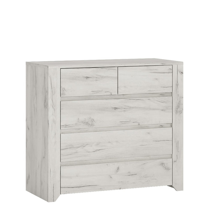 Florence White Oak 2+3 Drawer Chest of Drawer - FurniComp