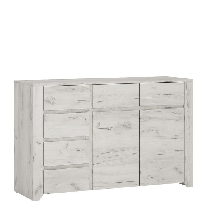 Florence White Oak 2 Door 3+3 Drawer Wide Chest of Drawer - FurniComp