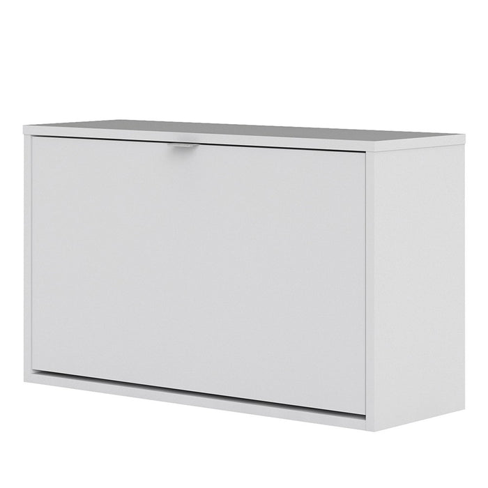 Function 1 Tilting Door 2 Layer White Shoe Cabinet - FurniComp