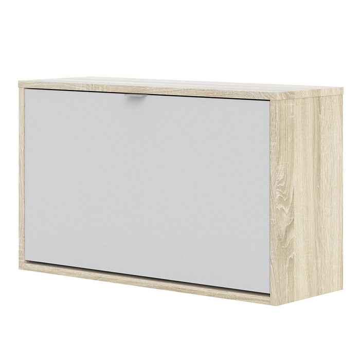 Function 1 Tilting Door 2 Layer White and Oak Shoe Cabinet - FurniComp
