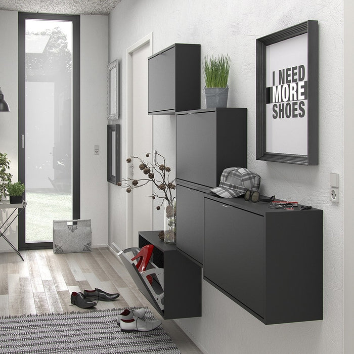 Function 1 Tilting Door Black Shoe Cabinet - FurniComp